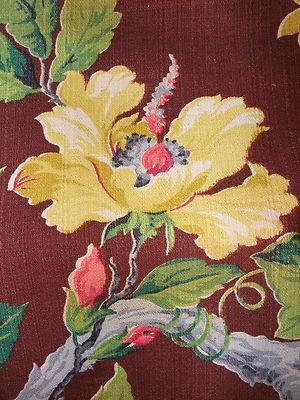 Vintage Barkcloth Fabric Large Floral Pattern Brown Yellow