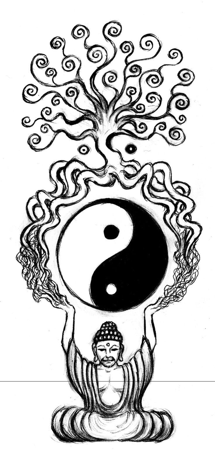 | buddha and the tree of life by aqvalung traditional art drawings ...
