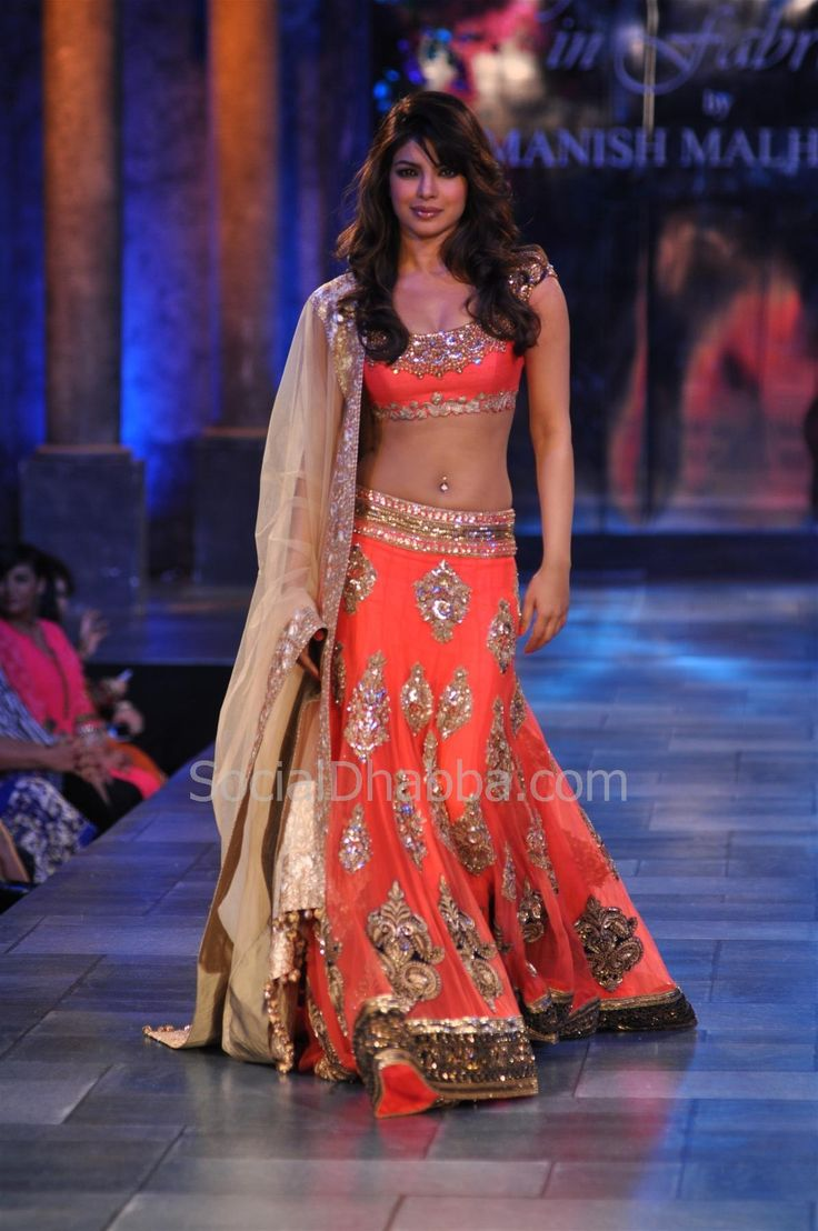 Priyanka Chopra in Orange Lengha by Manish Malhotra