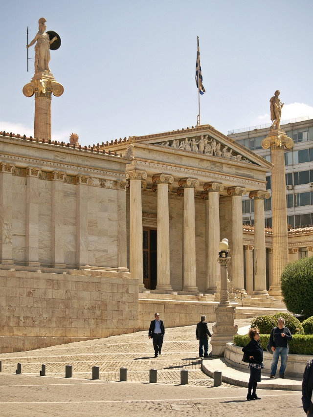 The Academy of Athens was completed in 1885 by Dutch architect Theophil Hansen. Walking Athens app, Route 01 - University Str. (Download for FREE)
