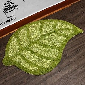 67x43 Cotton Leaf Pattern Floor Bath Mat Foot Carpet Rug