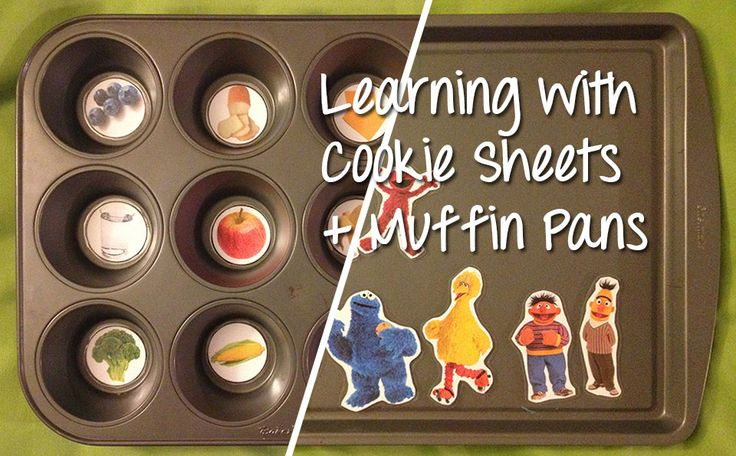 learning-with-cookie-sheets-and-muffin-pans - simply use stickers to make magnets!