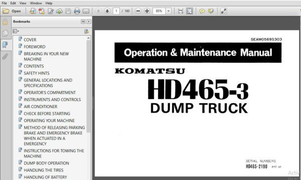 Komatsu Dump Truck Hd465 3 Operator Maintenance Manual Komatsu Dump Truck Maintenance