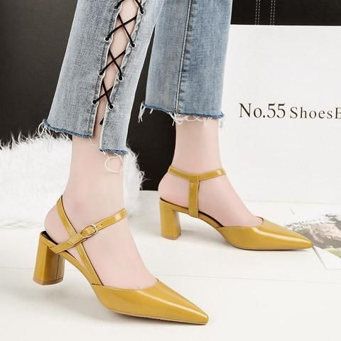f0f2fdedf Outfit Accessories   2018 Woman Block High Heels Sandals Pumps Red  Slingback Mules Heels Female Shoes Lady Strappy Sexy Nude Yellow Party  Sandals     Touchy ...