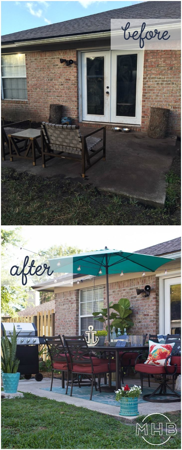 Patio Makeover - I love how achievable this patio is. Tons of seating, plants, string lights, umbrella, everything is great! #ad