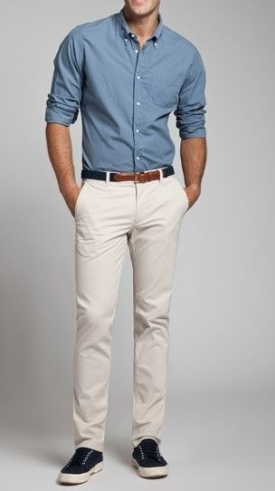 men's fashion.  - Blue shirt - White chions  Simple and minimalistic.