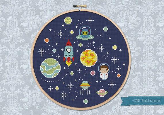 Oh SpaceBoy Cross stitch PDF pattern par cloudsfactory sur Etsy