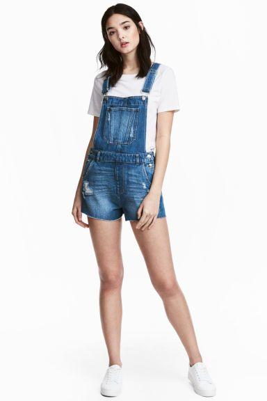 Джинсовый комбинезон-шорты - Голубой деним - Женщины   H&M RU 1