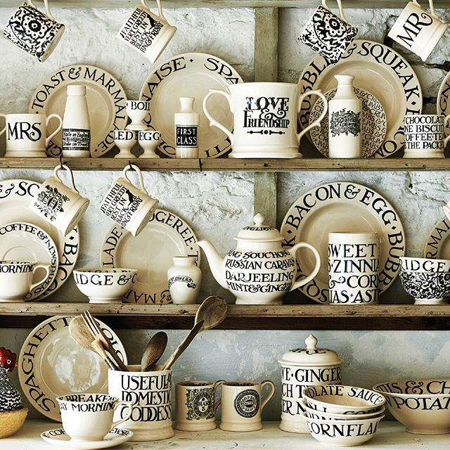 Black Toast is Emma Bridgewater's oldest and favourite pattern, originally launching in 1992. Its combination of Emma's telling phrases and sentences (frequently but not always food related) and Matthew's idiosyncratic but basically Roman lettering is instantly recognisable and has become a domestic design classic. #emmabridgewater #pottery #blacktoast #dresser