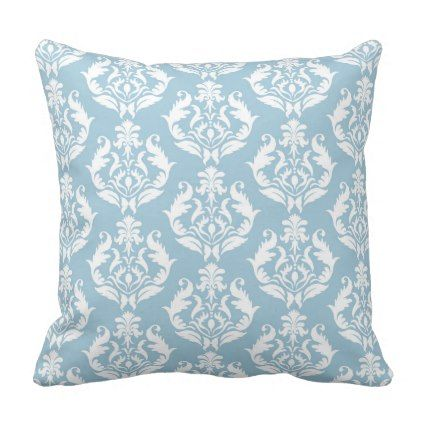 Trendy Aquamarine Damask Throw Pillow - light gifts template style unique special diy