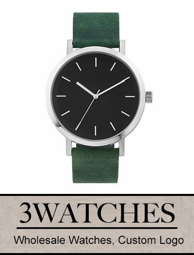 Thehorse Wholesale Watches. Custom Logo. Polished Steel / Mineral Green Leather. Visiting: http://www.3watches.com/horse-watch/