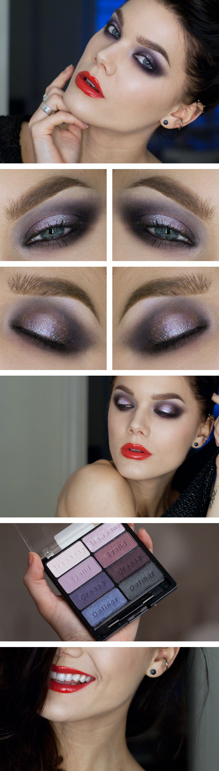 "Today's Look : ""Diamond"" -Linda Hallberg (SWet n Wild's 8 pan eyeshadow palette in Petal Pusher. Dark violet smokey eye paired with a bold red lip.) 11/08/13"