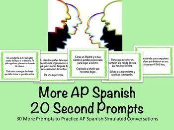More AP Spanish 20 Second Conversation Prompts by Mi Mercadito | TpT