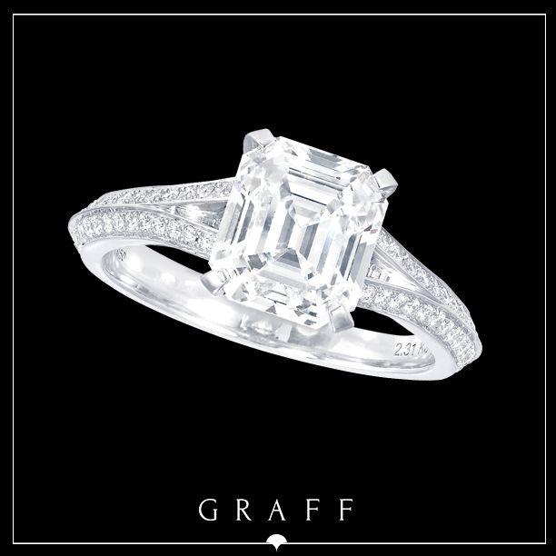 A 2.31ct Emerald Cut Diamond with Round Diamond Pavé Split Shank.  #graffdiamonds #graff #bridal #wedding #engagement #ring