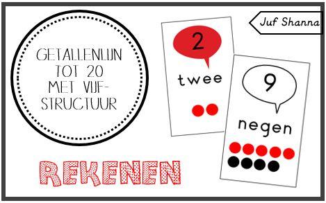 Rekenen: getallenlijn tot 20 met vijfstructuur!