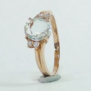 2.18CTs. Genuine Aquamarine in Rose Gold Plated over Silver Ring Size:Q-8                     RI222