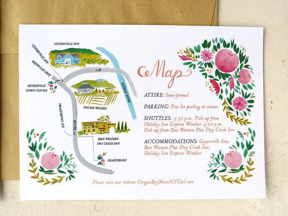 1000 images about Illustrated Maps – Wine Country Wedding Invitations