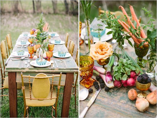 Farm Style Wedding Inspiration .... vegetables used for flowers!