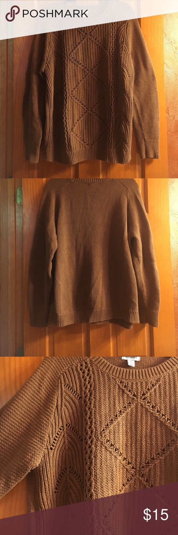Brown old navy sweater Brown old navy sweater🍂 Size: XXL perfect for fall or winter! Great condition!! 60% cotton & 40% acrylic. Adorable woven detailing! Only worn a few times! Old Navy Sweaters Crew & Scoop Necks