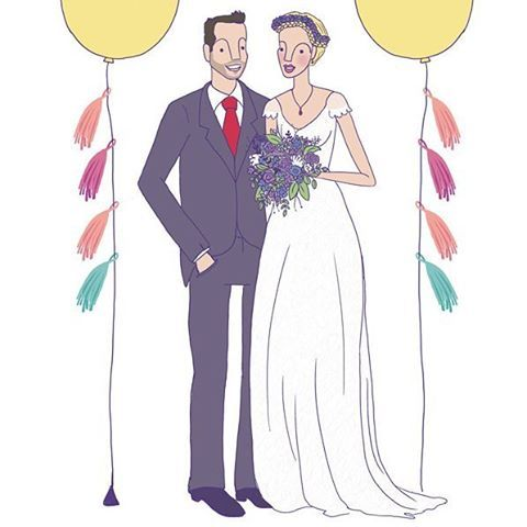 I love illustrating all of your favourite couples! Especially the portraits that mark a special occasion! Ps. I need these balloons in my life 😍 .  .  .  #portrait #coupleportrait #customillustration #bespokegift #wedding #weddinggift #balloons #decoration #thatdressthough #illustration #illustrator #artistofinstagram #lisamchugo #lisamchugoportraits