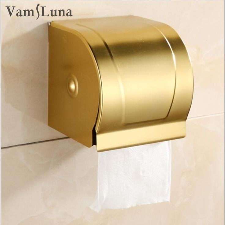 >> Click to Buy << Wall Mounted Golden Toilet Paper Rack with Lib Modern Style Bathroom Accessories - Waterproof Tissue Roll Holder Box  #Affiliate