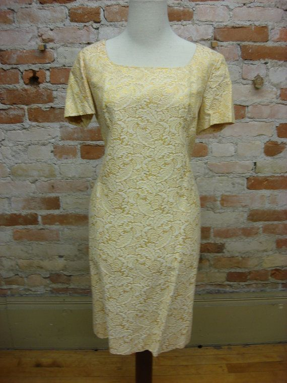 SALE 1950's Gold Brocade Dress by viviennesvintage on Etsy