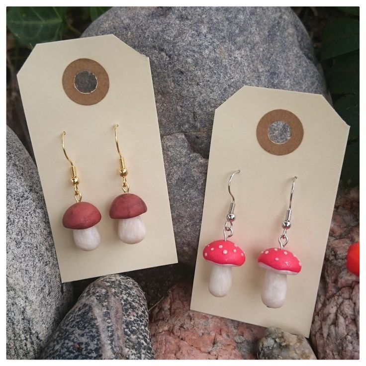 Polymer clay jewelry, mushroom earrings by LittleClayPlace on Etsy