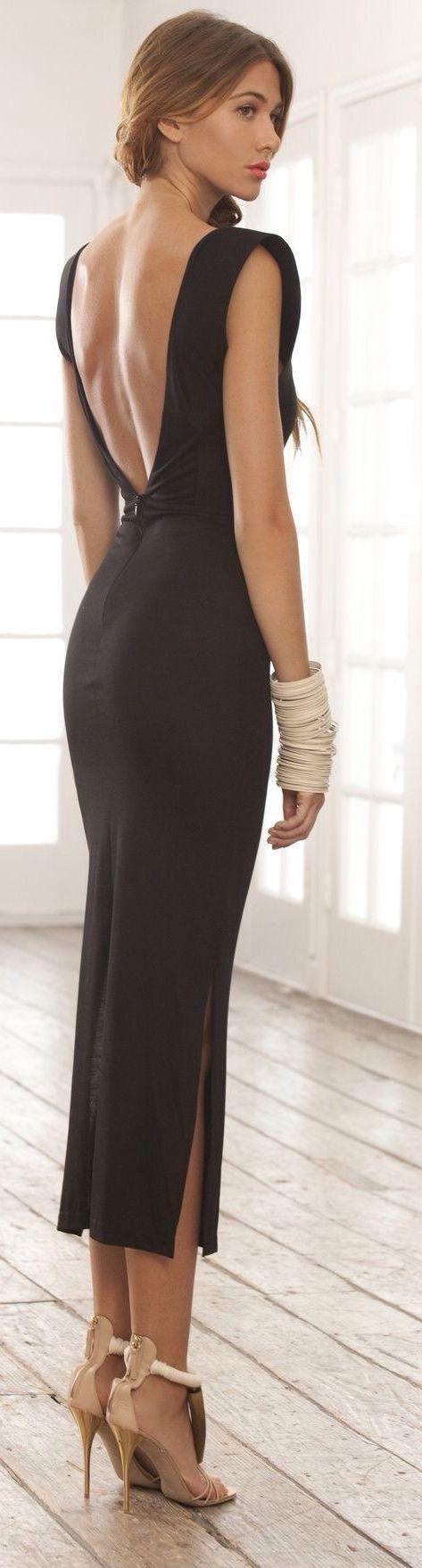 Black Chic Open Back Maxi Dress