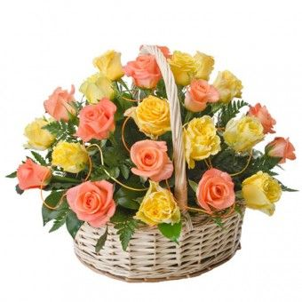 Two dozen of #yellow and #orange #roses in a #basket for your #sister to brighten her day.