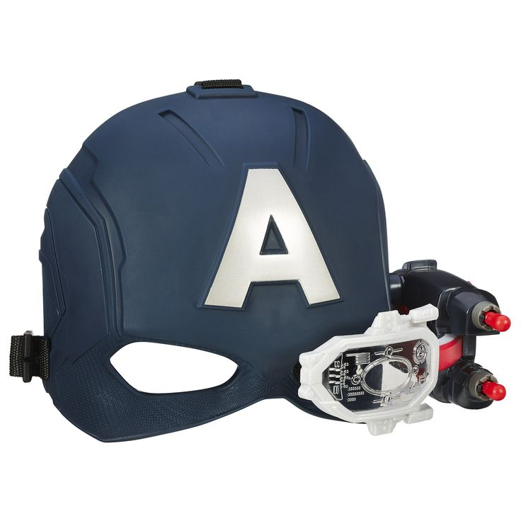 Marvel Captain America: Civil War Scope Vision Helmet. Light-up scope view helps with more accurate targeting. Helmet includes blaster and projectile for launching right out of pack. Helmet has adjustable strap for comfortable fit. Movie-inspired design. Includes 1 Scope Vision helmet, 2 projectiles, and instructions.