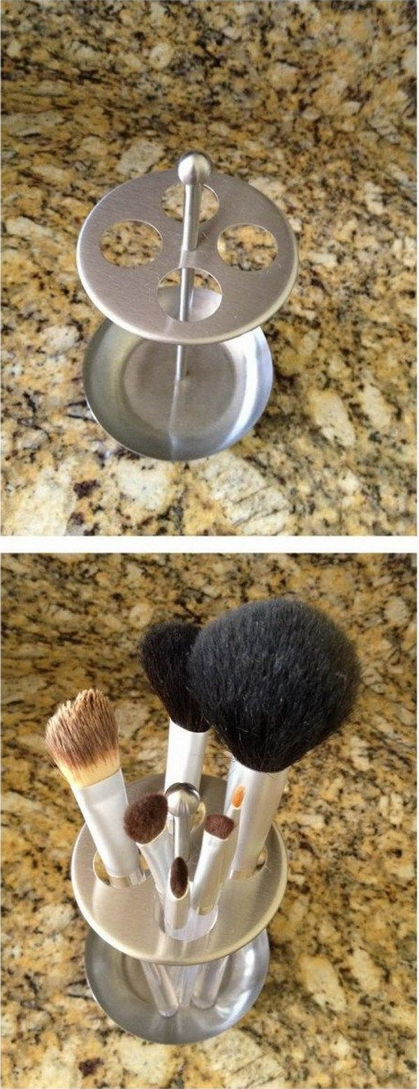 Use A Toothbrush Holder To Organize Make Up Brushes