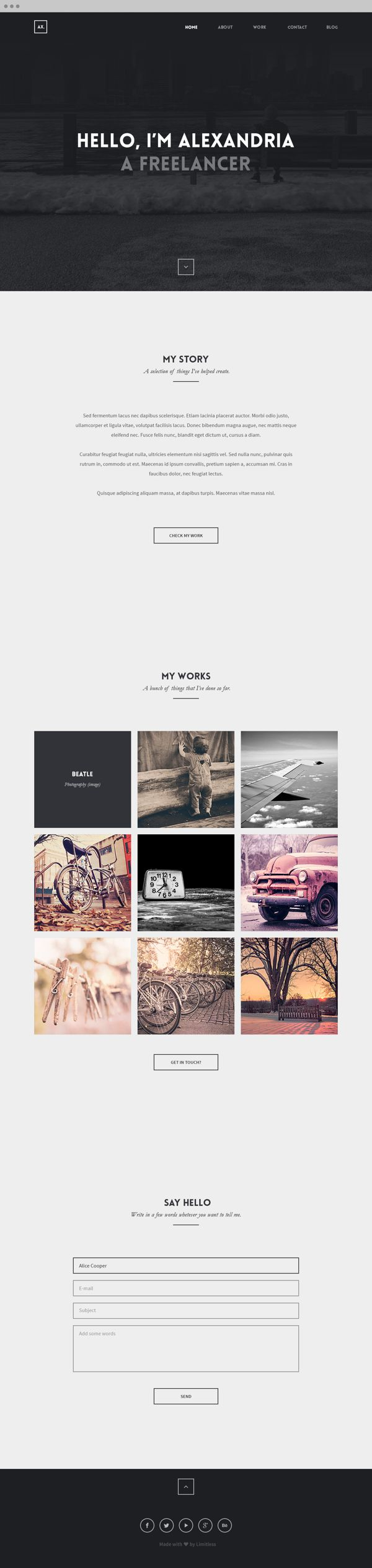 Alexandria - OnePage Creative Portfolio by Ismail MESBAH, via Behance  www.lab333.com  https://www.facebook.com/pages/LAB-STYLE/585086788169863  http://www.labs333style.com  www.lablikes.tumblr.com  www.pinterest.com/labstyle