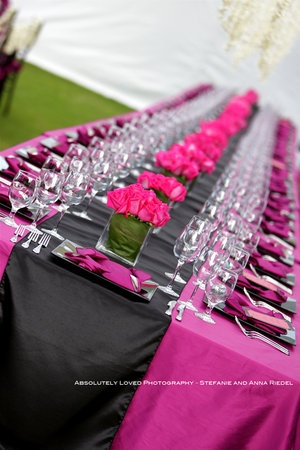 pink table setting,