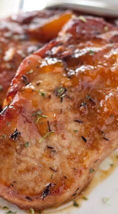 Crockpot Peach Glazed Pork Chops