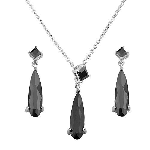 """.925 Sterling Silver CZ Hanging Earrings and Matching Pendant-Necklace Set with 1.2mm Cable Rolo Chain - 16""""+2"""" Inches Extension Reeve and Knight. $72.00. Rhodium coated for a lasting shine...and little to no silver tarnish.. Special manufacturing process held to ensure less wear and tarnish. Guaranteed to contain no Nickel content...completely hypoallergenic. Promptly Packaged with Free Shipping and Free Gift Box...Perfect for Gift Giving.. Made using pure 925 Sterl..."""