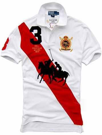 09a06741e Polo Ralph Lauren Slanted Bar Short T-Shirt Men Red Bar White ...