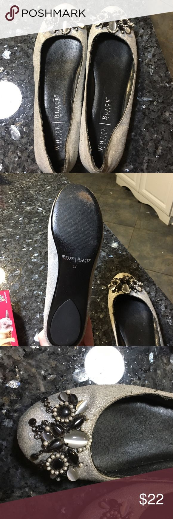White House black market ballet flats White House black market silver ballet flats. Perfect to wear for the holidays. Jewels on top of each flat. Sign of wear only on inside of shoe. White House Black Market Shoes Flats & Loafers