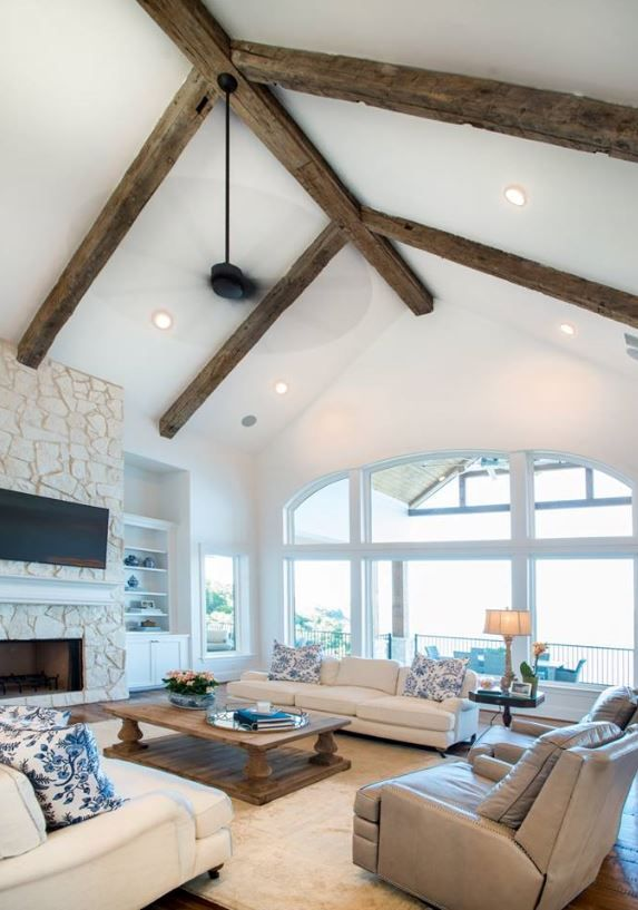 Living Room With Vaulted Wood Beam Ceiling Beams Living Room