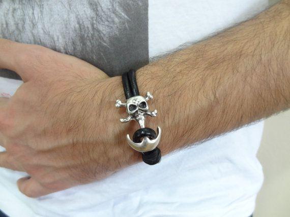 Men's Black Leather Bracelet Men's Jewelry  by sevinchjewelry