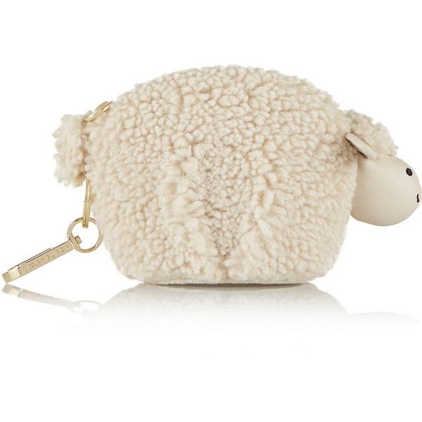 Tory Burch Larry Lamb faux shearling keychain ($100) ❤ liked on Polyvore featuring bags, сумки and white
