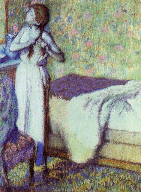 Edgar Degas, Young Girl Braiding Her Hair on ArtStack #edgar-degas #art
