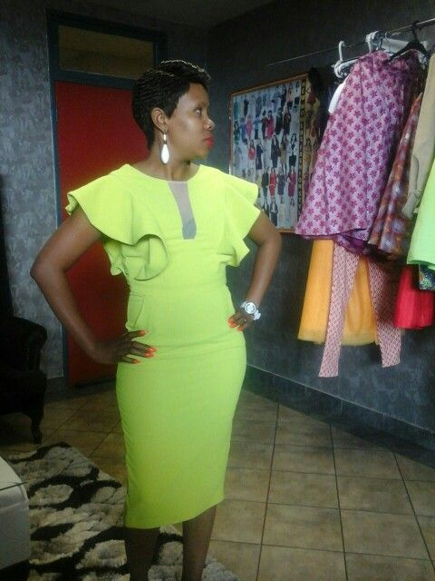 Lime pencil dress with short butterfly wings.