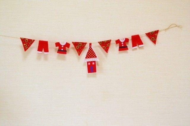 サンタさんの服、洗濯中&おウチのクリスマスガーランド - naona