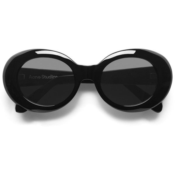 ACNE Mustang Black (€285) ❤ liked on Polyvore featuring accessories, eyewear, sunglasses, uv protection glasses, engraved glasses, round sunglasses, uv protection sunglasses and acne studios