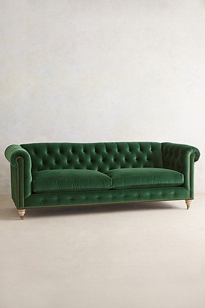 Lyre Chesterfield Sofa - anthropologie.com (emerald, charcoal, navy, light grey, light blue, eggplant, scarlet, gold, teal)