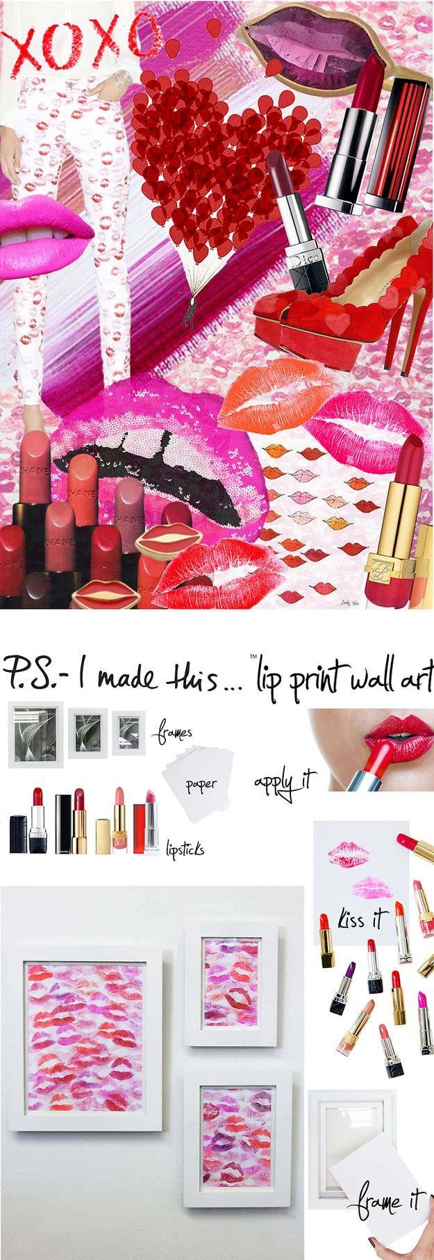 Rosa DIY Room Decor Idéer - DIY Lip Print Wall Art - Kalla rosor sovrum hantverk och projekt för tonåringar, flickor, tonåringar och vuxna - Bästa Wall Art Idéer, rum utsmyckning projekt Tutorials, mattor, belysning och lampor, Säng dekor och kuddar http: / /diyprojectsforteens.com/diy-bedroom-ideas-pink