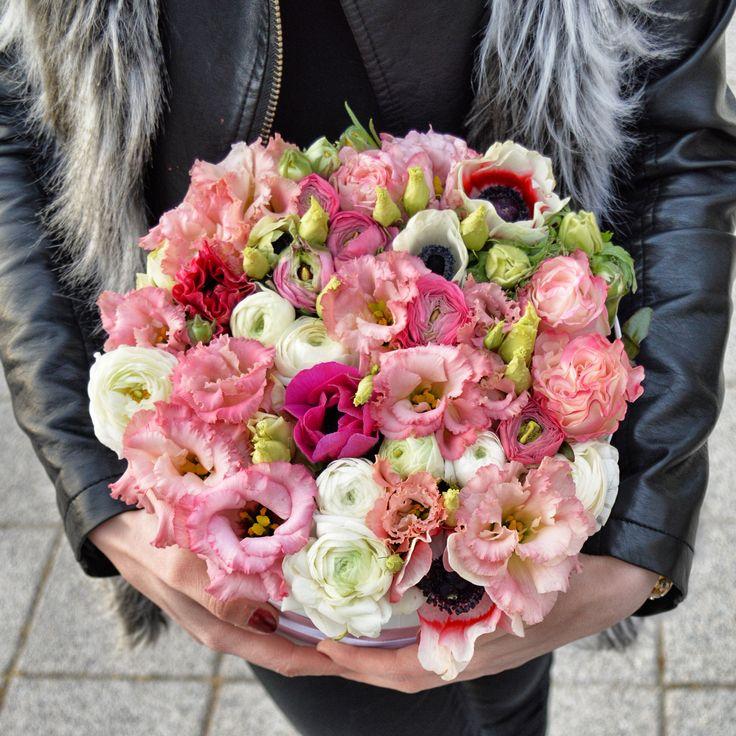 Stylish flower box with ranunculus, anemone