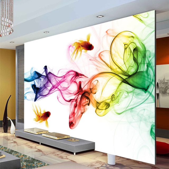 Modern smoke fog wallpaper 3d photo wallpaper goldfish for 3d mural painting tutorial