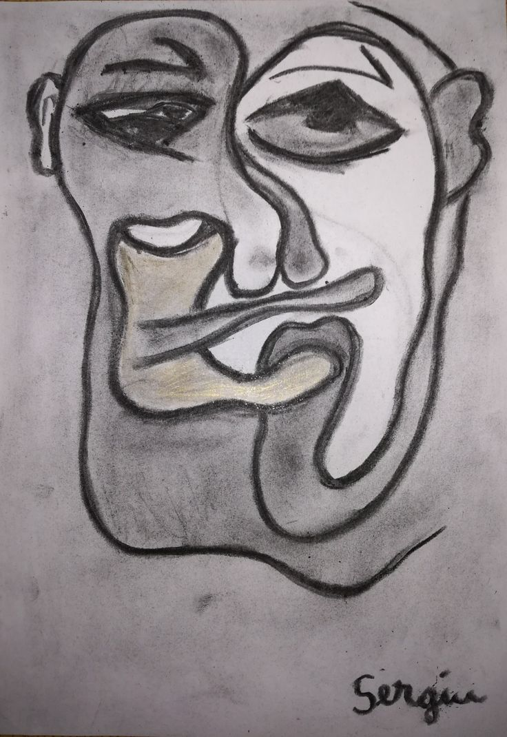 Drawing in coal by Sergiu Marinescu Faces #art #drawing #face #abstractart #coaldrawing