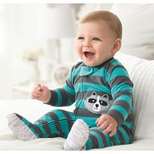 Carter's Boys 1 Piece Teal Striped Microfleece Footed Blanket Sleeper with a Raccoon Applique Babies R us
